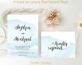 Watercolor wedding invitation kits printed | Nautical wedding invite and rsvp postcard | Affordable wedding cards | Blue wedding invitations