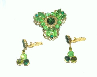 Vintage Jewelry Green Brooch and Earrings Multi - Colored Green Rhinestones