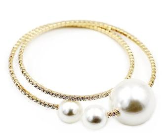 Golden pearl crystal bracelet