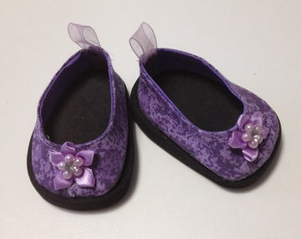 Doll shoes fit American girl dolls 18 inch doll shoes  lavender shoes for dolls AG doll
