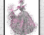 Princess Cinderella, Duotone, Pink Gray, Baby Girl Nursery, Wall Decor, Disney Princess, Poster, Girl Room Decor - 172BP