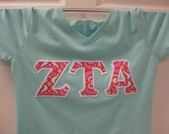 light aqua chill sorority double stitched letters shirt