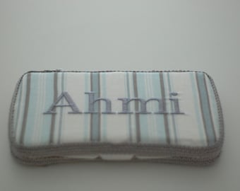 Blue Stripes Personalized Baby Wipes Case