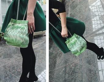 Leather Bucket Bag / Shoulder Bag / Tote / Carry All / Handbag - mint / white - Minimalist, Handmade,Boho