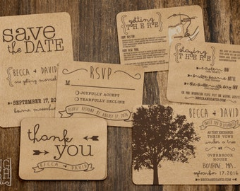 Printable Rustic Tree Wedding Invitation Set - Customizable, Brown Kraft Paper, Save-the-Dates, RSVP, Map, Directions, Thank You