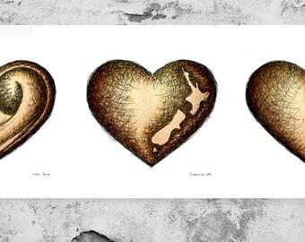 Hearts Three, Kiwi As. Fine art print.