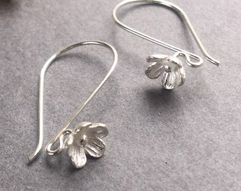 Ear Wire Flower Blossom French Hook Earring Bali Sterling Silver 925 One Pair
