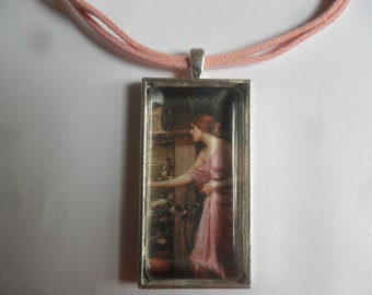 Pre Raphaelite romantic necklace, Psyche entering Cupid's garden by John William Waterhouse, glass cased pendant on pink suede cord! pretty!