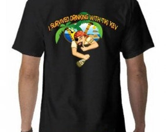 I Survived Drinking With Tiki Kev Short Sleeve Tee Shirt