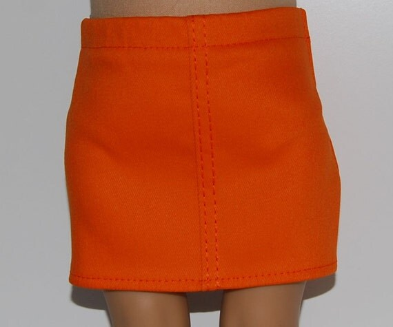 orange stretch denim skirt doll clothes fits by