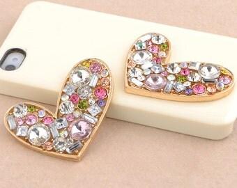 1pcs Bling Crystals Heart-shaped Dazzle Crystals Gems Flatback Cabochon Decoden Accessories/DIY Cell Phone Case Deco Den Materials Supplies