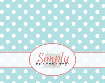 Baby BLUE with WHITE DOTS Vinyl Photography Backdrop