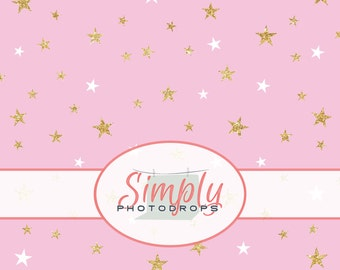 PINK with GOLD GLITTER Stars Damask vinyl Photography Backdrop