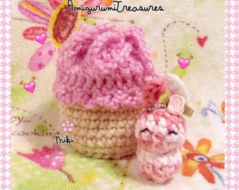 ReaDy To Ship: Mini PINK Cupcake satchel, tiny cupcake bag, Cupcake tote, cute amigurumi cupcake purse, crochet cupcake, kawaii cupcake