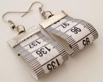 Tape Measure Earrings Upcycled Earrings Recycled Earrings White Earrings Hipster Earrings Dressmaker Earrings Dressmaker Gift Designer Gift