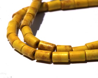 5x3.5mm Natural Yellow Turquoise Barrel Shaped DIY Jewelry Making Beads - Bds503