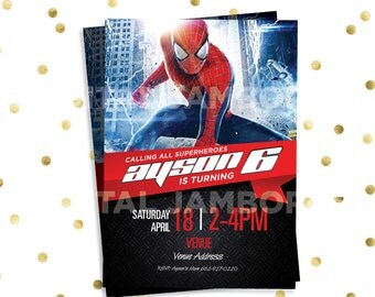Spiderman Invitation and Thank You card ; Spiderman ; 2 Piece Set ; Digital Printable
