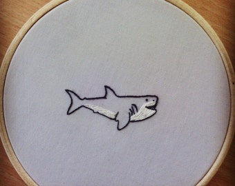 Great White Shark Hand Embroidery, Shark gift, Shark embroidery, Shark lovers, Shark Home Decor, embroidered gifts, animal embroidery,