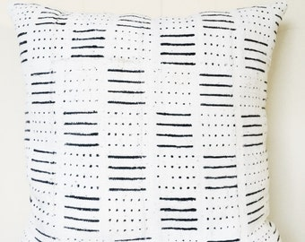 Authentic African Black and White Mudcloth Decorative Pillow-Large-FILLED