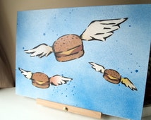 Flying Burgers painting Spray paint stencil art