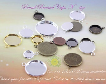 50pcs Bezel Cups,Link Bezel,Round Link Trays,12mm Recessed Earring Bezel,Charm Drops,12mm earring trays,Perfect for earring make.N size 0350