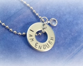 Inspirational jewelry, I am enough, eating disorder recovery jewelry, mental health jewellery, boho jewelry, you are enough
