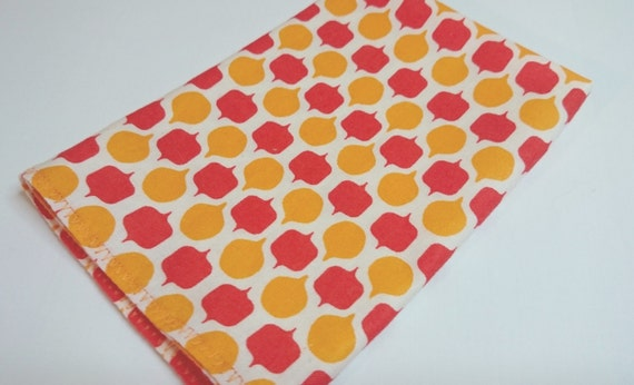 "12"" MOD Pocket Square Coral and Yellow"