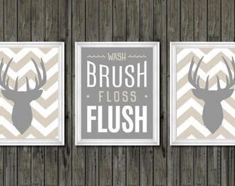 Boys Bathroom Decor, Deer Bathroom Decor, Gray And Tan, Wash, Brush,