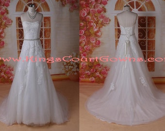 Ivory Lace Tulle Beaded Aline Corset Wedding Dress Gown Chapel Train