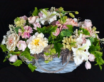 table decoration - flower composition, bouquet of handmade flowers, luxury gift