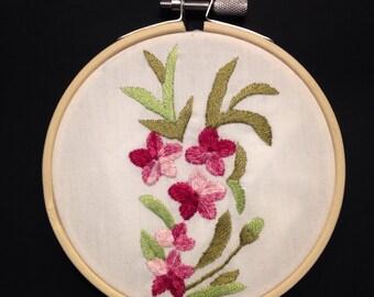 Pink flower embroidery hoop