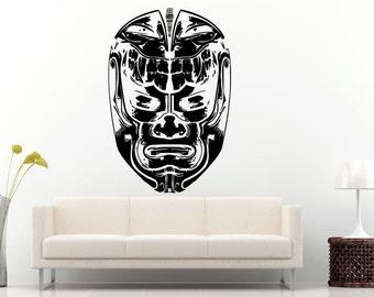 Mask Voodoo Ancient Mythology Warrior Helmet Wall Decal Vinyl Sticker Mural Room Decor L559