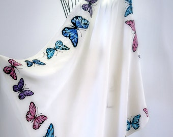 "Hand painted silk scarf -""Elegant Butterfly""- butterfly scarves- medium silk scarf, bitterflies scarves"