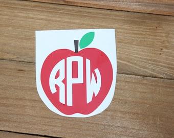 Monogrammed Multi-Color Teacher Apple Vinyl Decal