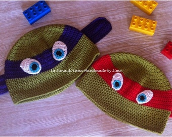 Baby crochet Hat inspired by the Teenage Mutant Ninja turtles in cotton or wool