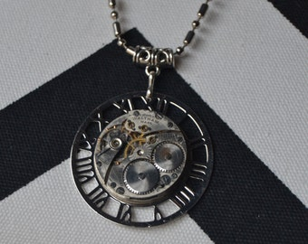 Women's Steampunk Repurposed Vintage Watch Gear NECKLACE Silver