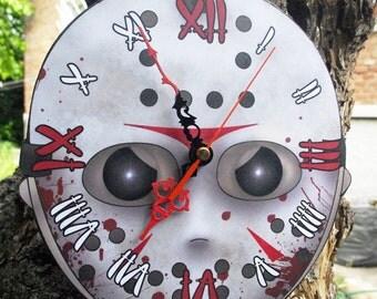 Jason Voorhees hockey mask wall clock
