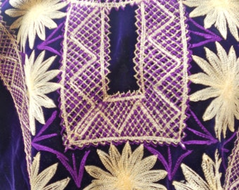 Mexican Huipil Blouse from Juchitan, Oaxaca in Royal Purple Velvet with Embroidery in Golden Eggshell and Bright Purple..