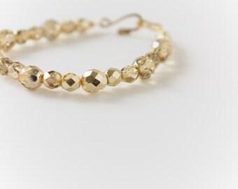 Gold Czech Fire-Polished Bead Bracelet