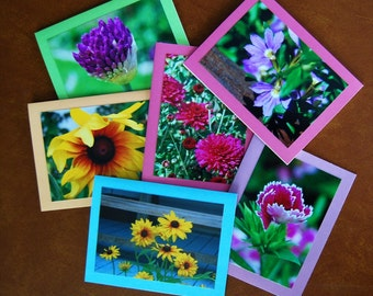 "Flower Notecard set; 6 Assorted Blank Notecards  5.5"" x 4.25""; Thank You Card Set"