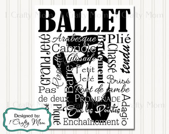 Ballet Shoes (White & Black) Silhouette Typography Artwork Decor Wall Art Sign 8x10 Terminology Printable Instant Download