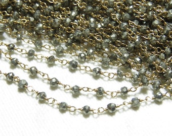 Pyrite  Wire Wrapped 24 K Gold Plated Beaded Chain 16 inches Long