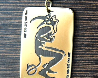 Luck Joker brass amulet pendant