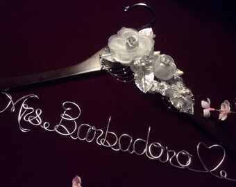 Wedding shower gift, Personalized wedding hanger, Bride hanger, wedding dress hanger, Silver Flower Dress Hanger