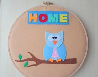 Hoop art,Felt wall hanging,Felt hoop art,handmade hoop art,felt owl,Home decor