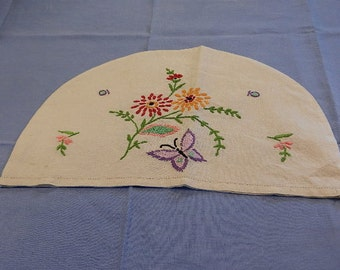 Embroidered Linen Tea Cosy /Cozy, Flowers & Butterfly