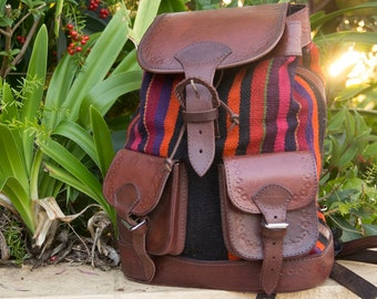 Striped Aguayo and Leather Backpack/ Rucksack