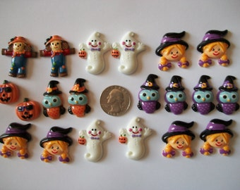 Halloween witch pumpkin ghost owls resin flatbacks cabuchons scrapbooking embellishments 20 count