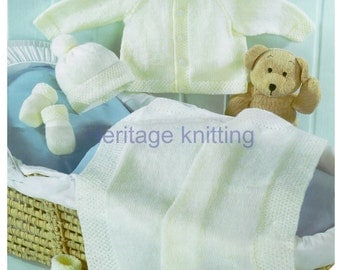 baby jacket hat mittens bootees and blanket 4 ply knitting pattern 99p pdf