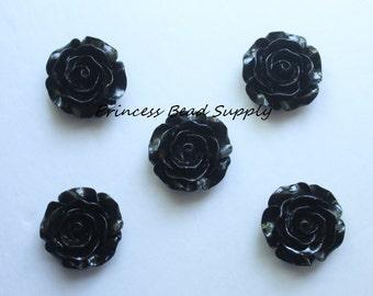 30mm Black Resin Rose Flower Chunky Beads, 30mm Rose Bead, 30mm Flower Bead, Bubble Gum Beads, Gumball Beads, Acrylic Beads